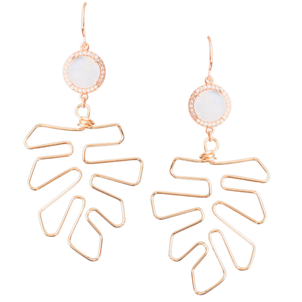 Halcyon & Hadley Moonstones and Monsteras Statement Earrings in Rose Gold Pave - Women's Earrings - Women's Jewelry - Unique Earrings - Statement Earrings