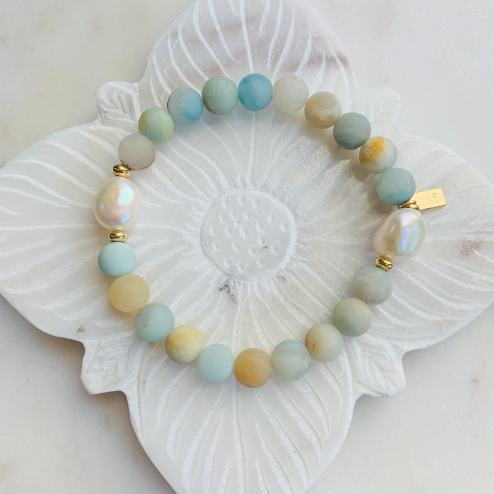 HH Stack Bracelet in Matte Green Amazonite