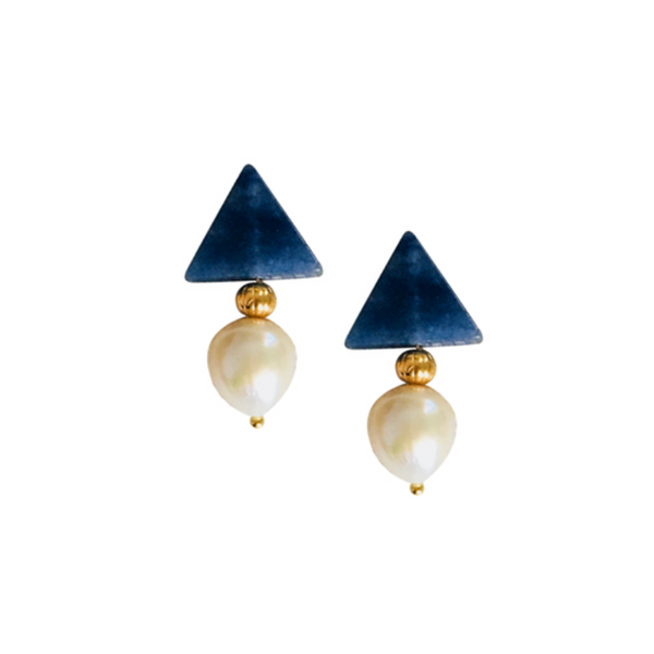 Halcyon & Hadley Triple Threat Statement Studs in Blue Aventurine and Ivory Baroque Pearls - Women's Earrings - Women's Jewelry - Unique Earrings - Statement Earrings