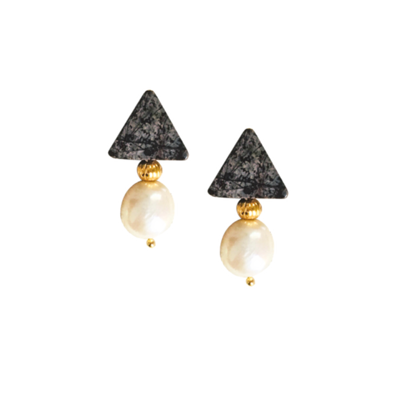 Halcyon & Hadley Triple Threat Statement Studs in Chocolate Snowflake Obsidian and Baroque Pearls - Women's Earrings - Women's Jewelry - Unique Earrings - Statement Earrings
