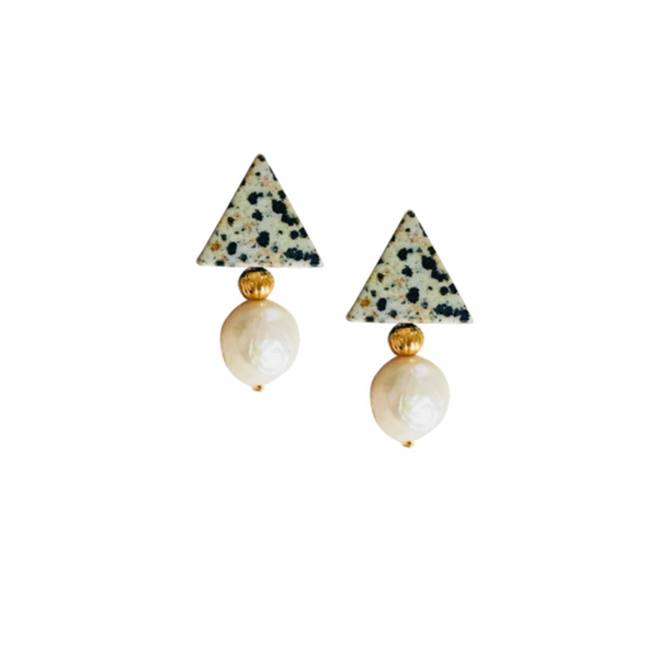 Halcyon & Hadley Triple Threat Statement Studs in Dalmatian Jasper and Baroque Pearls - Women's Earrings - Women's Jewelry - Unique Earrings - Statement Earrings