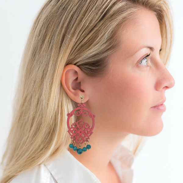 Halcyon & Hadley Chinoiserie Summer Statement Earrings - Women's Earrings - Women's Jewelry - Unique Earrings - Statement Earrings