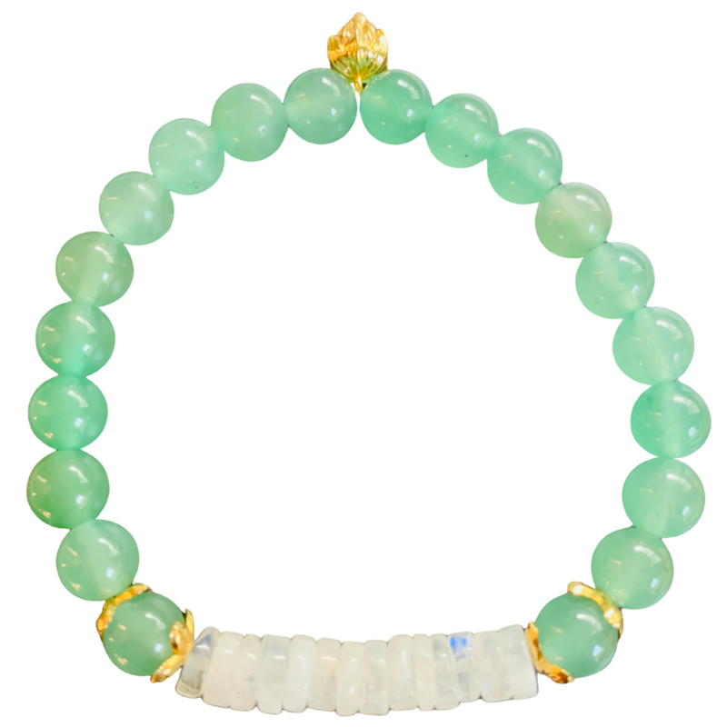 HH Stack Bracelet in Rainbow Moonstone and Green Aventurine