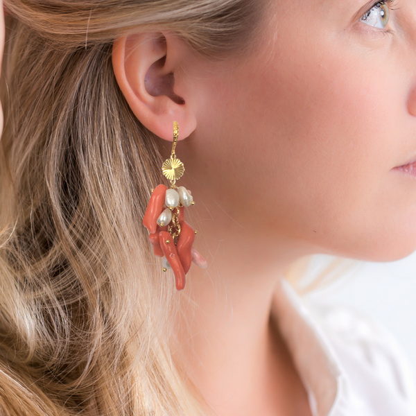 Halcyon & Hadley Living Coral Cascade Statement Earrings with Pearls and Gold - Women's Earrings - Women's Jewelry - Unique Earrings - Statement Earrings