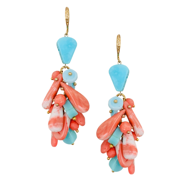 Halcyon & Hadley Endless Summer Statement Earrings with Peruvian Blue Opal and Bamboo Coral - Women's Earrings - Women's Jewelry - Unique Earrings - Statement Earrings