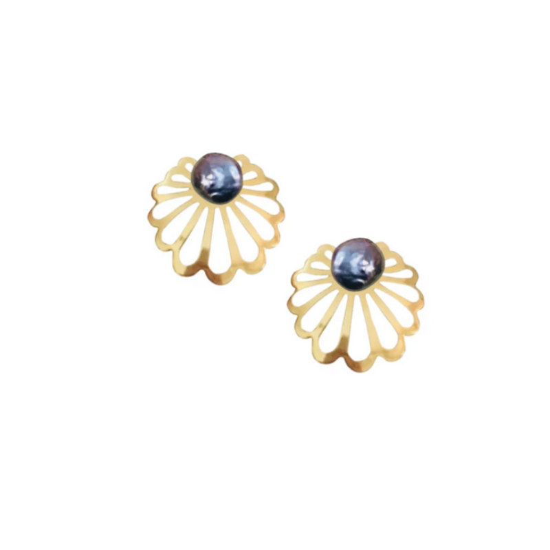 Halcyon & Hadley Art Deco Clamshell Studs with Peacock Blue Baroque Pearls - Women's Earrings - Women's Jewelry - Unique Earrings - Statement Earrings