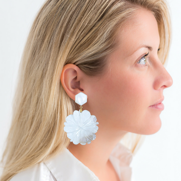 Halcyon & Hadley Mother of Pearl Gardenia Statement Earrings - Women's Earrings - Women's Jewelry - Unique Earrings - Statement Earrings