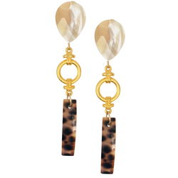 Halcyon & Hadley Nauti Girl Mother of Pearl and Tiger Cowrie Shell Statement Earrings - Women's Earrings - Women's Jewelry - Unique Earrings - Statement Earrings