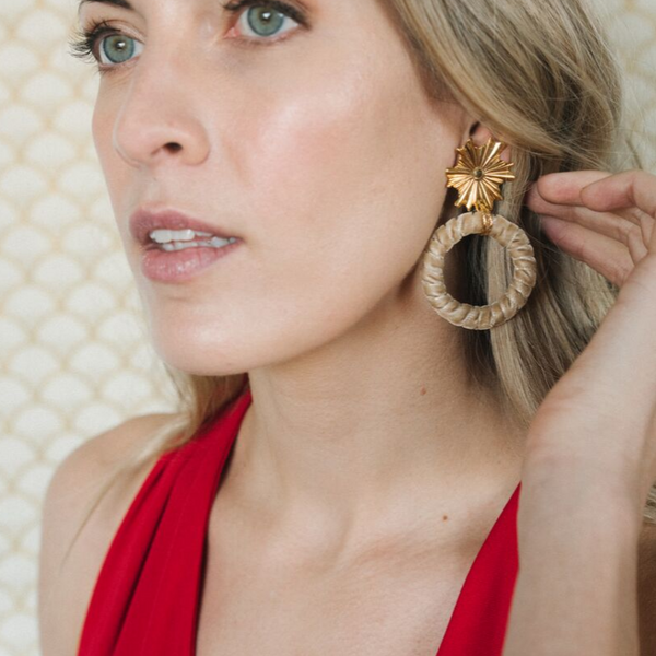 Halcyon & Hadley Ray of Light Statement Earrings in Camel Velvet - Women's Earrings - Women's Jewelry - Unique Earrings - Statement Earrings