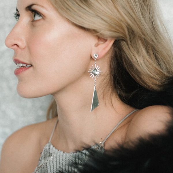 Halcyon & Hadley Matterhorn Statement Earrings with Swarovski Crystals - Women's Earrings - Women's Jewelry - Unique Earrings - Statement Earrings