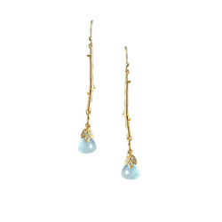 Halcyon & Hadley Aquamarine Chalcedony Bamboo Drop Earrings - Women's Earrings - Women's Jewelry - Unique Earrings - Statement Earrings