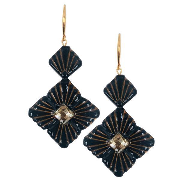 Halcyon & Hadley Swarovski Sunburst Statement Earrings in Gilded Black - Women's Earrings - Women's Jewelry - Unique Earrings - Statement Earrings
