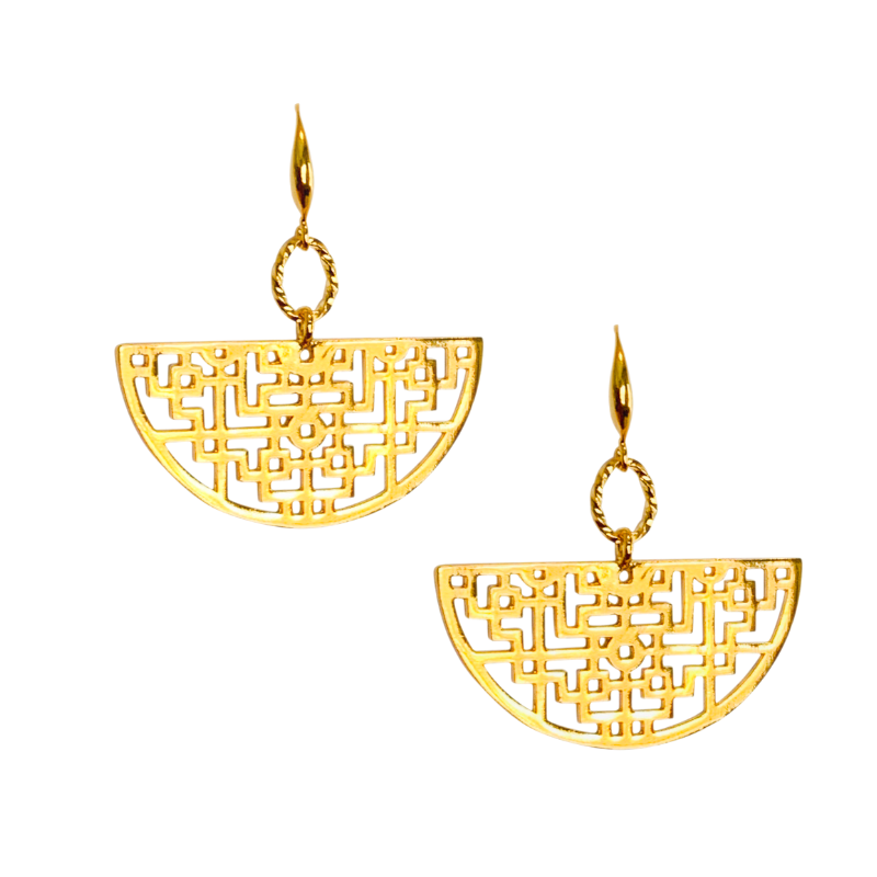 Halcyon & Hadley Koi Fretwork Earrings in Gold - Women's Earrings - Women's Jewelry - Unique Earrings - Statement Earrings