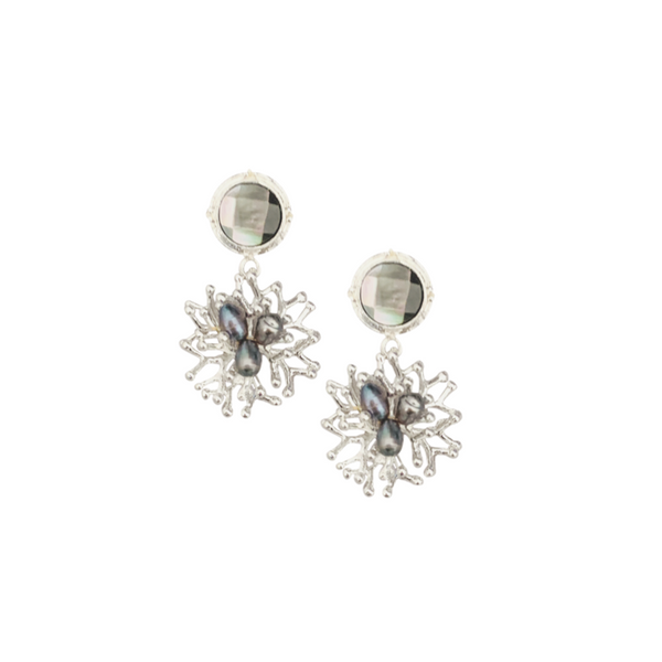Halcyon & Hadley South Pacific Silver Earrings with Freshwater Peacock Pearls - Women's Earrings - Women's Jewelry - Unique Earrings - Statement Earrings
