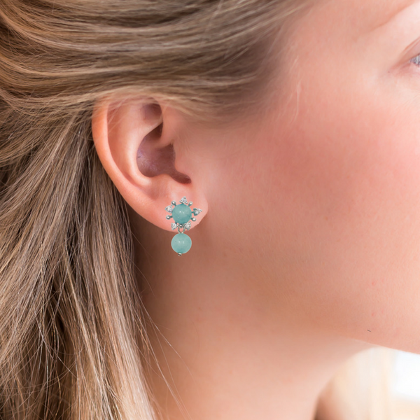 Halcyon & Hadley Amazonite First Frost Stud Earrings - Women's Earrings - Women's Jewelry - Unique Earrings - Statement Earrings