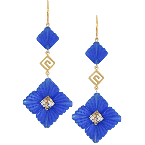 Halcyon & Hadley Greek Key Art Deco Statement Earrings in Cobalt Blue & Gold - Women's Earrings - Women's Jewelry - Unique Earrings - Statement Earrings