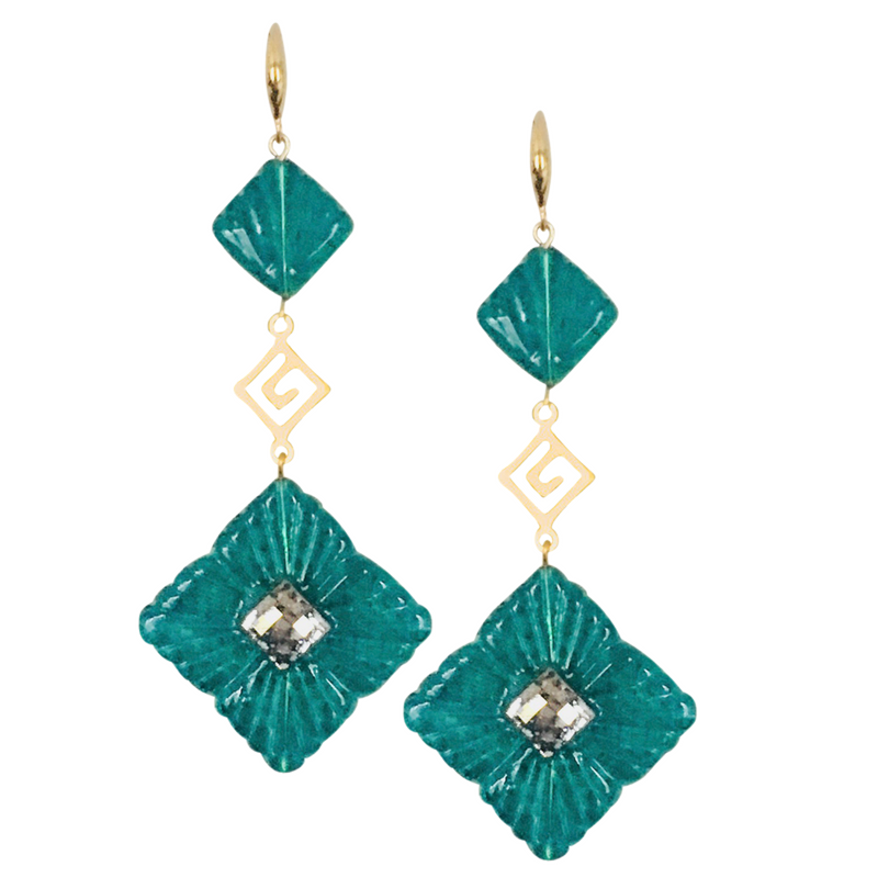Halcyon & Hadley Greek Key Art Deco Statement Earrings in Emerald Green & Gold - Women's Earrings - Women's Jewelry - Unique Earrings - Statement Earrings