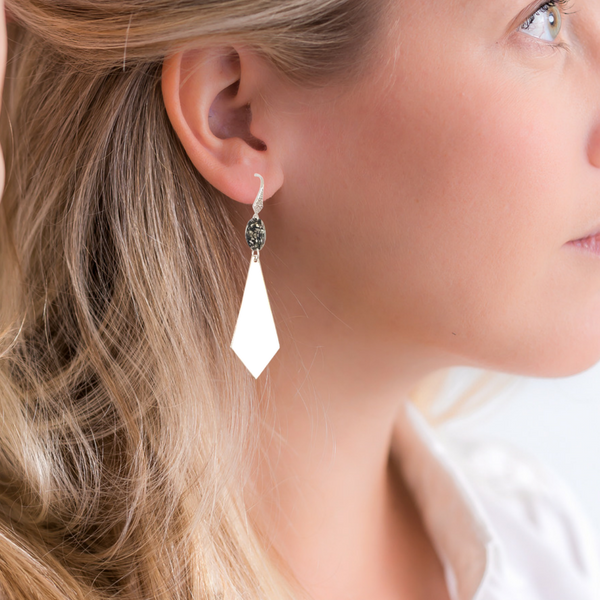 Halcyon & Hadley Mirrored Geo Earrings with Swarovski Crystals - Women's Earrings - Women's Jewelry - Unique Earrings - Statement Earrings