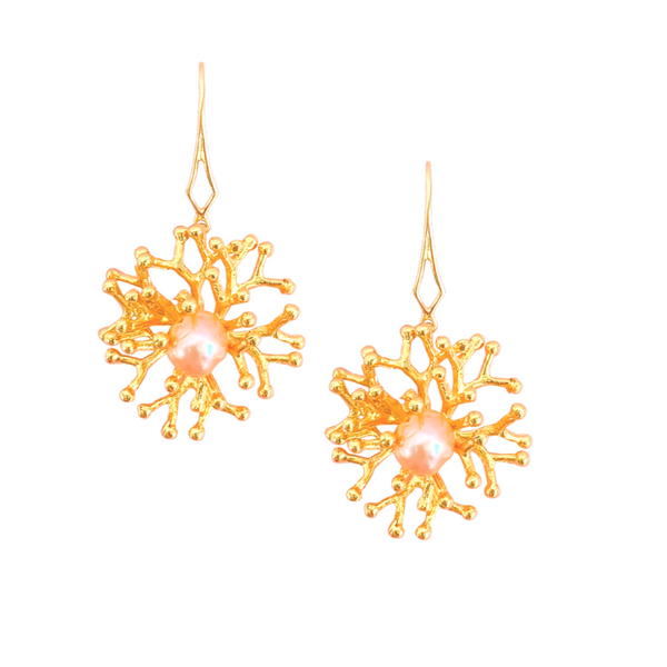 Halcyon & Hadley Gold-Filled Lace Coral Drop Earrings with Peach Freshwater Pearls - Women's Earrings - Women's Jewelry - Unique Earrings - Statement Earrings