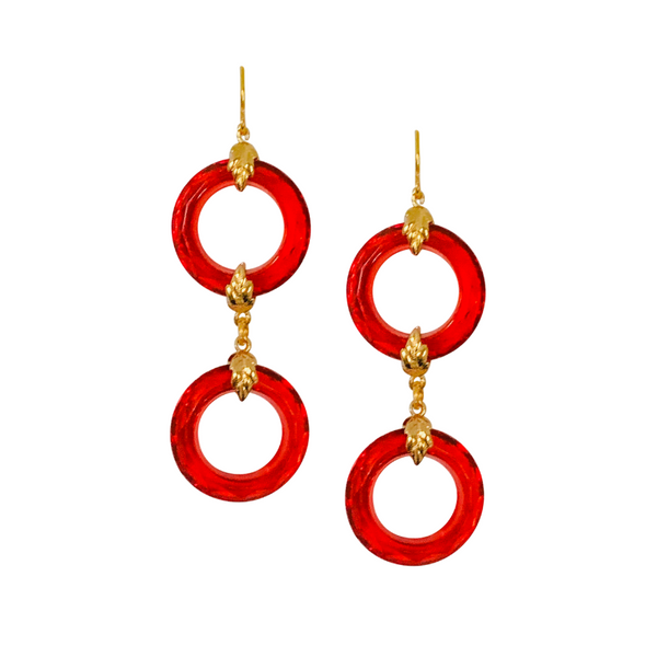 Halcyon & Hadley Hollywood Regency Earrings in Cherry Red and Gold - Women's Earrings - Women's Jewelry - Unique Earrings - Statement Earrings