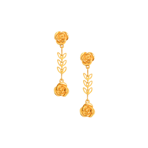 Halcyon & Hadley Gold-Filled Rosebud Drop Earrings - Women's Earrings - Women's Jewelry - Unique Earrings - Statement Earrings
