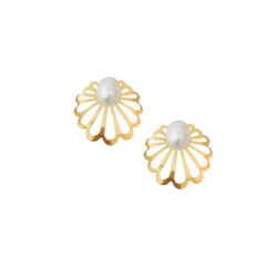 Art Deco Clamshell Studs with Baroque Pearls