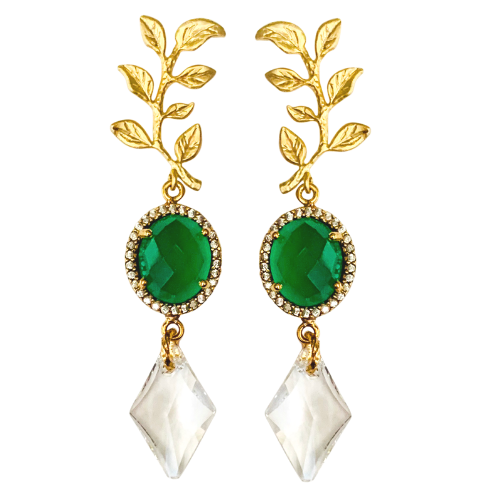 Halcyon & Hadley Green Onyx and Swarovski Crystal Gold Laurel Statement Earrings - Women's Earrings - Women's Jewelry - Unique Earrings - Statement Earrings