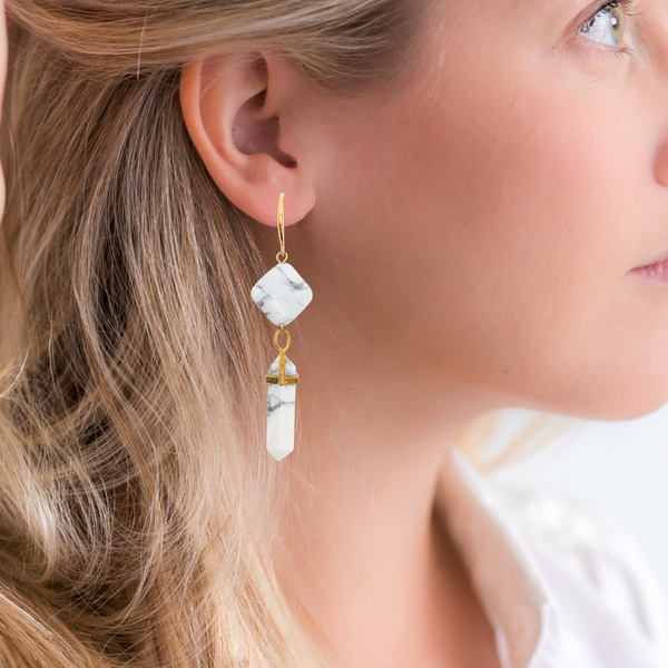Halcyon & Hadley Marble Arches Statement Earrings in Howlite - Women's Earrings - Women's Jewelry - Unique Earrings - Statement Earrings