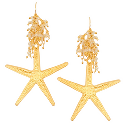 Halcyon & Hadley Sandy Starfish Statement Earrings in Matte Gold and Crystal Quartz - Women's Earrings - Women's Jewelry - Unique Earrings - Statement Earrings