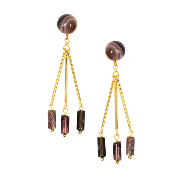 Halcyon & Hadley Tripod Earrings with Brown Botswana Agate - Women's Earrings - Women's Jewelry - Unique Earrings - Statement Earrings