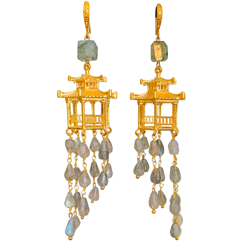 Halcyon & Hadley Chinois Chalet Statement Earrings in Labradorite and Gold - Women's Earrings - Women's Jewelry - Unique Earrings - Statement Earrings