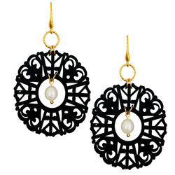 Halcyon & Hadley Imperial Fretwork Statement Earrings in Black with Freshwater Pearls - Women's Earrings - Women's Jewelry - Unique Earrings - Statement Earrings