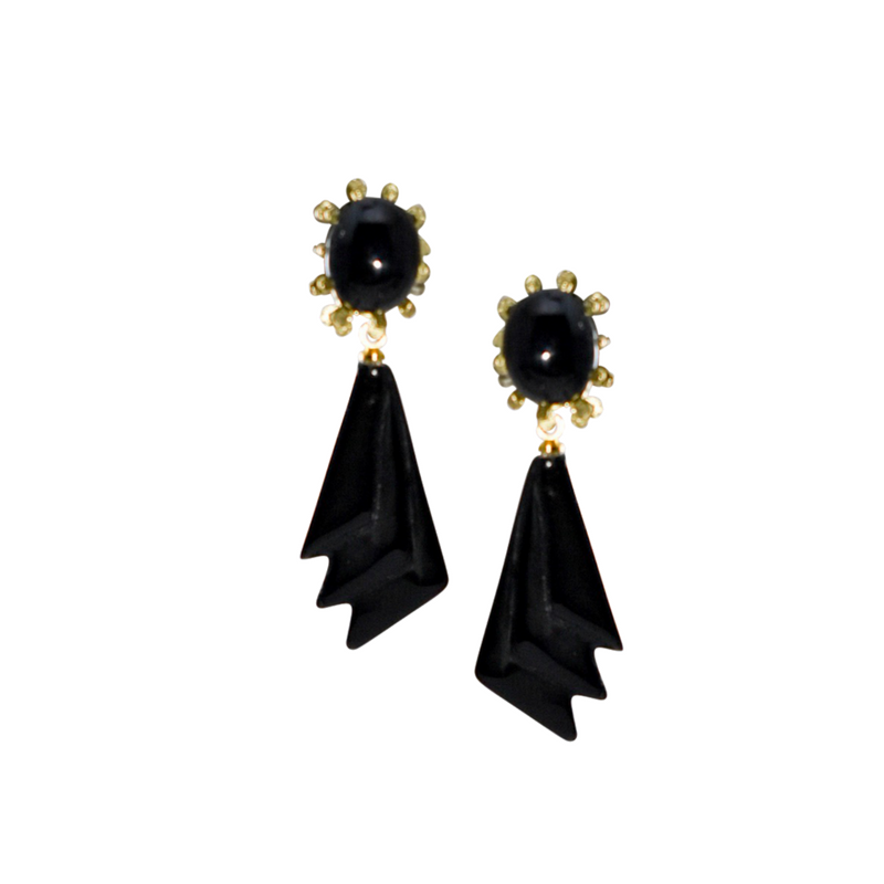 Halcyon & Hadley Forbidden City Drop Earrings in Onyx & Gold - Women's Earrings - Women's Jewelry - Unique Earrings - Statement Earrings