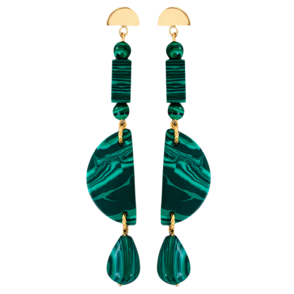 Halcyon & Hadley Malachite Linear Earrings - Women's Earrings - Women's Jewelry - Unique Earrings - Statement Earrings