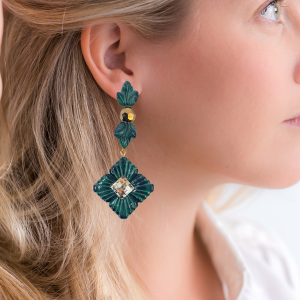 Halcyon & Hadley Ivy Statement Earrings in Green Malachite & Gold - Women's Earrings - Women's Jewelry - Unique Earrings - Statement Earrings