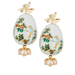 Halcyon & Hadley Orangerie Cloisonné Statement Earrings with Peach Freshwater Pearls - Women's Earrings - Women's Jewelry - Unique Earrings - Statement Earrings