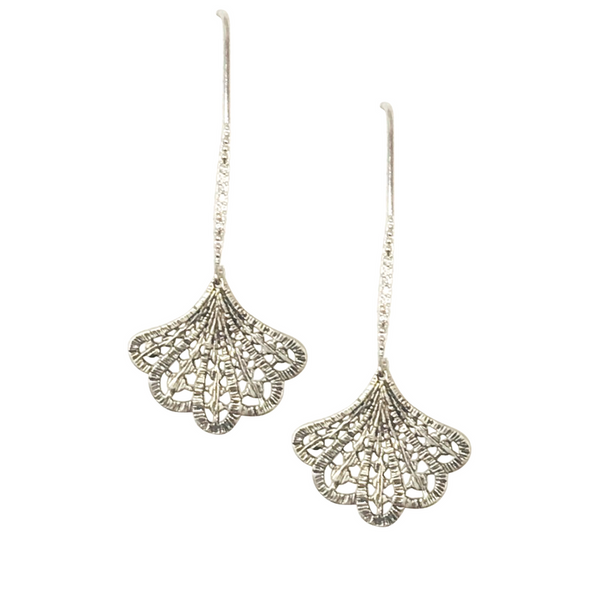 Halcyon & Hadley Art Deco Pave and Lace Fan Threader Earrings in Sterling Silver - Women's Earrings - Women's Jewelry - Unique Earrings - Statement Earrings