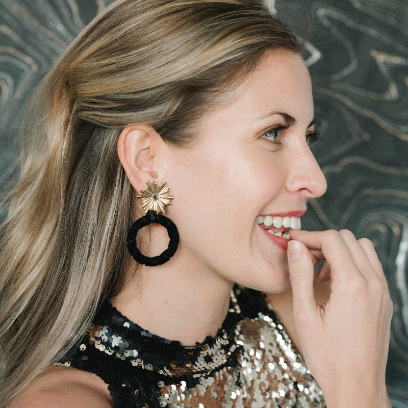 Halcyon & Hadley Ray of Light Statement Earrings in Black Velvet - Women's Earrings - Women's Jewelry - Unique Earrings - Statement Earrings