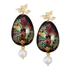Halcyon & Hadley Limoncello Cloisonné Statement Earrings with Ivory Freshwater Pearls - Women's Earrings - Women's Jewelry - Unique Earrings - Statement Earrings