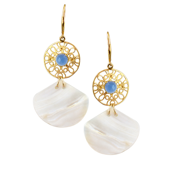 Halcyon & Hadley Ah Oui Cannes Blue Chalcedony & Shell Drop Earrings - Women's Earrings - Women's Jewelry - Unique Earrings - Statement Earrings