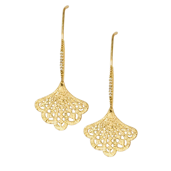 Halcyon & Hadley Art Deco Pave and Lace Fan Threader Earrings in Gold Vermeil - Women's Earrings - Women's Jewelry - Unique Earrings - Statement Earrings