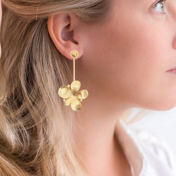 Halcyon & Hadley Gold-Filled Pave Flower Pop Statement Earrings - Women's Earrings - Women's Jewelry - Unique Earrings - Statement Earrings