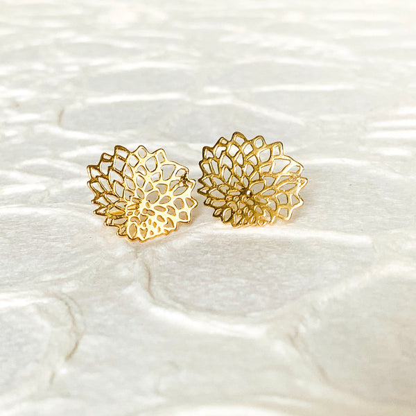 Halcyon & Hadley Gold-Filled Mini Mum Stud Earrings - Women's Earrings - Women's Jewelry - Unique Earrings - Statement Earrings