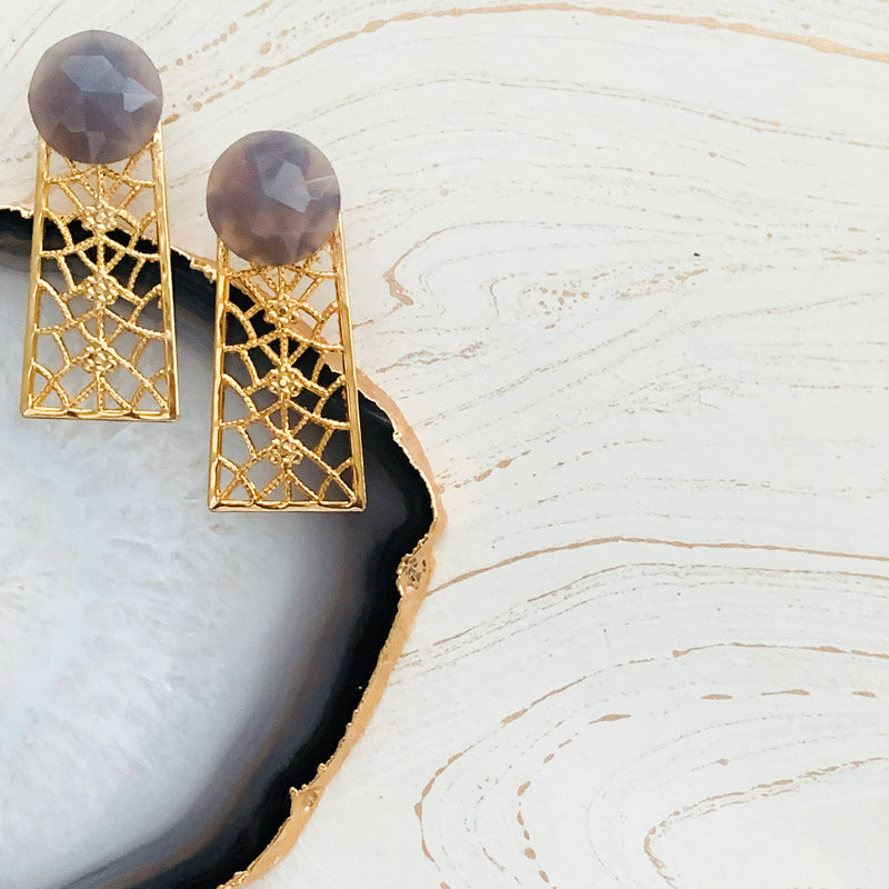 Halcyon & Hadley Orchard Road Statement Studs in Grey Agate - Women's Earrings - Women's Jewelry - Unique Earrings - Statement Earrings
