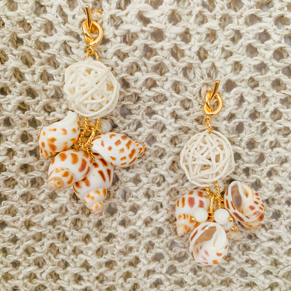 Halcyon & Hadley Calanques Statement Earrings with Babylon Shells and Rattan Poms - Women's Earrings - Women's Jewelry - Unique Earrings - Statement Earrings