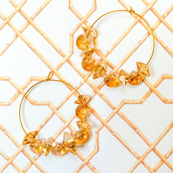 Halcyon & Hadley Swarovski Sunshine Hoop Earrings - Women's Earrings - Women's Jewelry - Unique Earrings - Statement Earrings