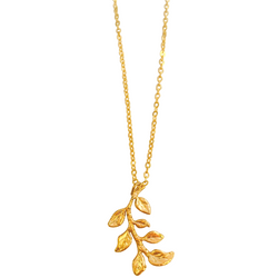 Gilded Olive Branch Necklace in Gold