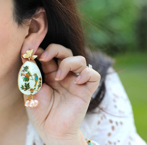 Orangerie Cloisonné Statement Earrings with Peach Freshwater Pearls