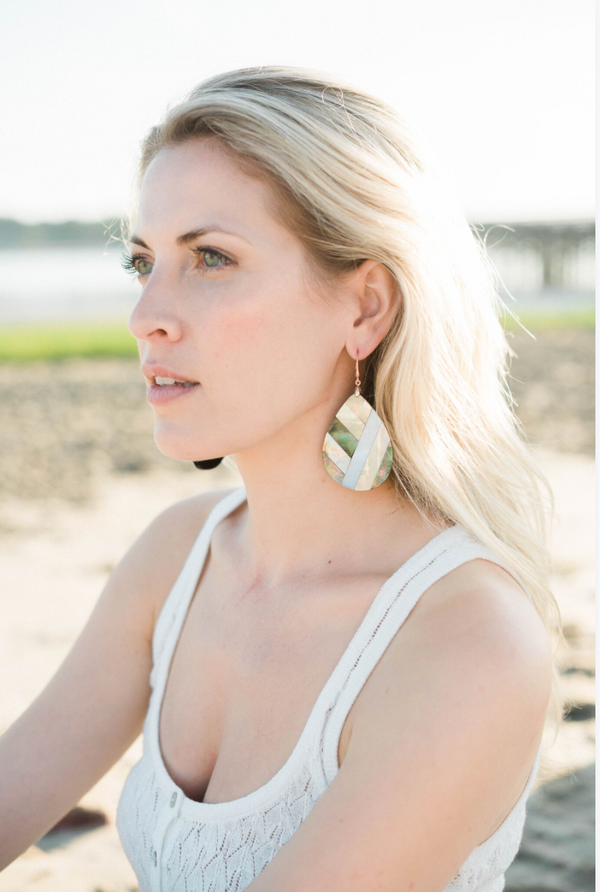 Halcyon & Hadley Art Nouveau Inlaid Mother of Pearl Geometric Statement Earrings - Women's Earrings - Women's Jewelry - Unique Earrings - Statement Earrings