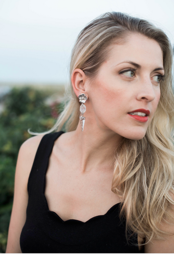 Halcyon & Hadley Blossom Statement Earrings in Rainbow Moonstone & Silver - Women's Earrings - Women's Jewelry - Unique Earrings - Statement Earrings